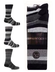 3 pair Mens Cotton Rich Honeycomb Top Stripe Stripey Striped Designer Socks 6-11