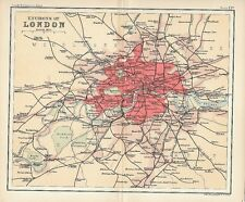 Original 1896 Railway Map LONDON Greenwich Wimbledon Tottenham Thames Whitehall