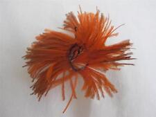 ANTIQUE VICTORIAN ORANGE FEATHER ROSETTE HAIR HAT MILLINERY PLUME c1900