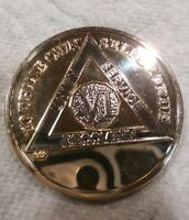 6 YEAR AA GOLD/SILVER Tone Bi-Plated Alcoholics Anonymous CHIP COIN MEDALLION