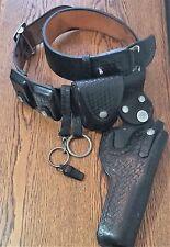 """Vtg LA Police Basket Weave 6"""" Revolver Swivel Holster 44 6 Belt Safety Speed Etc"""