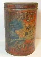 Vintage 1910s TOURIST COFFEE TIN OCEAN LINER GRAPHIC TALL 1 POUND CAN BALTIMORE