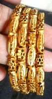 22K Gold Plated 4 Pcs Thick Light Weight Indian Bangle Churi Bracelet 2.10''