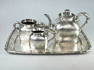 1805 Grs ANTIQUE CHINESE CHINA EXPORT SOLID SILVER REPOUSSE KETTLE TEA POT 1900