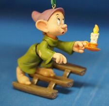 Dopey w/ Candlestick on Steps Christmas Ornament Disney Store 2010 Snow White