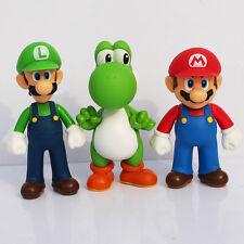 3pcs/set Super Mario Bros PVC Figure Toys 13cm Luigi Mario Yoshi Action Figures