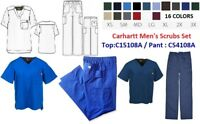 Carhartt Men's Scrubs Set (C54108A Ripstop Multi-Cargo Pant/ C15108A V-Neck Top)