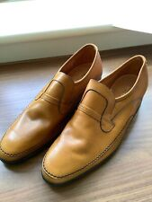 Vintage mens shoe, Masegrove/Loake, tan leather slip on, apron front, size 8, GB