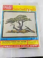 "New listing Quinella Needlework ""California Cypress Tree"" Crewel Embroidery Kit 14""x18"""