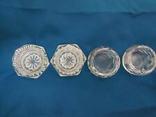 PAIR OF TWO ROUND VINTAGE OPEN SALT CELLAR DIP DISHES AND ONE  LONGER RECTANGLE