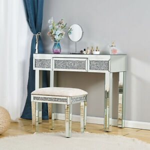 Mirrored Dressing Table W/ Drawer Makeup Diamond Glass Console Desk Bedroom UK