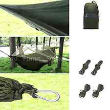 Portable High Strength Parachute Fabric Hammock Bed With Mosquito Net Army Green