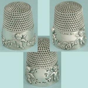 Antique Sterling Silver Patented Cupids Thimble by Simons Brothers * 1905 Patent