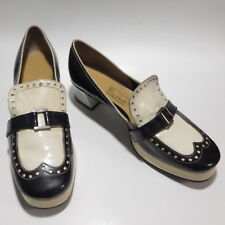 Vtg 1950s Womens Shoes Bendi Patent Leather Heeled Loafers Black White