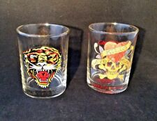 ED HARDY PAIR OF ROCK GLASSES OR LOWBALL OLD FASHIONED TIGER & SKULL LOVE KILLS