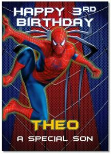 Spiderman Personalised Birthday Card Marvel Add Name Age Relation Grandson Son