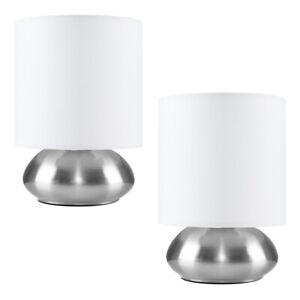 MiniSun Touch Table Lamp - Modern Chrome Bedside Lights fabric Shades LED Bulb