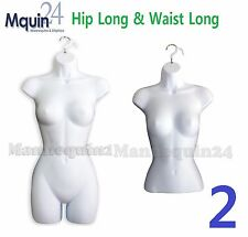 Set Of Hip + Waist Long Females, White Woman Dress & Torso Mannequin Body Forms