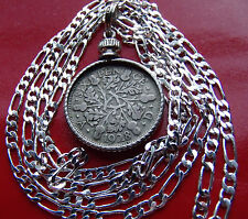 """SILVER ENGLISH PRE 1936 Authentic SIXPENCE on an ITALIAN 28""""  .925 SILVER CHAIN"""