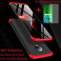 360° Full Cover Shockproof Slim Case+Glass Screen Protector For Motorola Moto G7