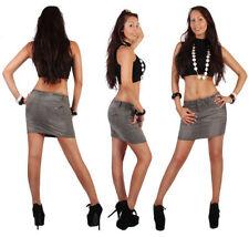 Minigonna da donna in cotone grigio