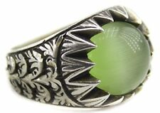 Sterling silver men ring handmade, jade natural gemstone, steel pen Craft