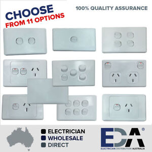 DOUBLE POWER POINT DGPO ELECTRICAL SOCKET SINGLE SWITCH OUTLET GANG 240V CLASSIC
