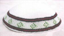 Yamaka Kippah Knit Crochet White Red Green Jewish Cap