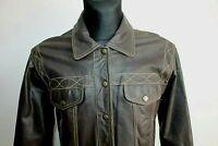 Vintage SPIRIT Womens Jacket Brown Nappa Leather Biker Cafe Racer Size M Medium