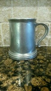 "Wilton Armetale Satin 4 1/2"" Mug Stein Tankard Curved Handle Plough Tavern USA"
