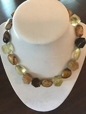 Signed Sigrid Olsen Stone and Lucite Knotted Choker Necklace Earthtones