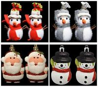 2 Christmas Hanging Snowman Santa Decoration Tree Party Ornament Cute Frozen Fun