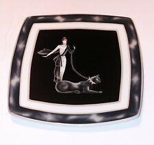 4 Italian Ceramics  ICC Wild Cats Art Deco Black Panther Square Plate Dish Italy