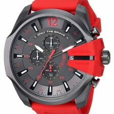 Diesel Mega Chief Gunmetal Dial Red Silicone Band Chronograph Watch DZ4427