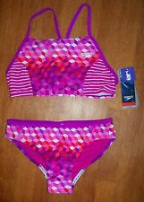 *NWT* Speedo 2-Piece in Illusion Cubes Electric Purple - Size 12.  Retail - $44