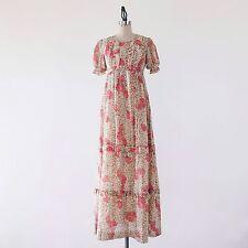 VINTAGE 70s Long Floral Short Sleeve Pink Cotton Festival Peasant Maxi Dress - S