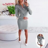 Ladies Long Lace Bodycon Knitted Dress Womens Work Jumper Sweater Sleeve Casual