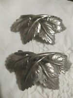 Pair VTG 1950's Signed MUSI Fur Scarf Shoe Clips MCM Leaves Silver Pewter Tone