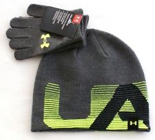 0a5860d7970 Under Armour Coldgear Gray   Green Knit Beanie   Gloves Youth Boy s ...