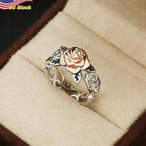 Eagle Two Tone 925 Silver Palted rose flower Jewelry Party Ring US Size 5-12