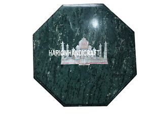 Green Marble Top Coffee Table Taj Mahal Inlaid Marquetry Hallway Art Decor H3509
