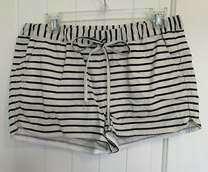 J Crew Women's Cotton Linen Tie Front Shorts Size Small Creme And Navy Stripes