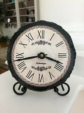 Decorative Desk/Table Clock on Slate with Easel, Roman Numerals