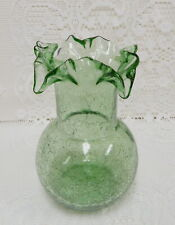 """BLENKO HAND BLOWN CRACKLE GLASS GREEN VASE FLUTED RUFFLED CRIMPED 7 1/2"""" TALL"""