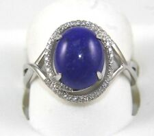 Oval Lapis Lazuli Gemstone & Diamond Solitaire Ring 14k White Gold 2.96Ct