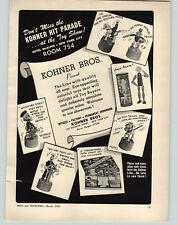1952 PAPER AD Kohner Bros Thumb Puppets Lone Ranger Pluto Donald Duck Mac Sailor