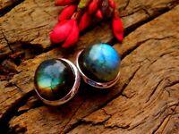 925 Sterling Silver Studs, Fine Silver Flashy Labradorite Omega Studs Earrings