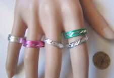 Lote 5 anillos aluminio colores nº 10 ó 19 mm diámetro medio bisutería r-54