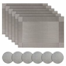 Silver Table Place Mats and Coasters Stain Resistant Sets of 6 (Grey) Homcomoda
