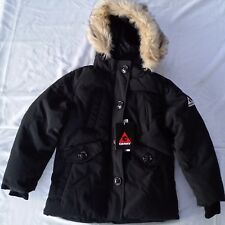 Gerry Winter Coat 5 6 Black Hood Faux Fur Buttons Zipper Pockets Cuffs Washable